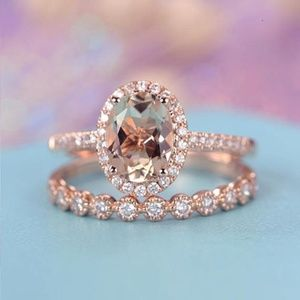Jewelry - Stamped Rose Gold CZ Wedding Ring Set
